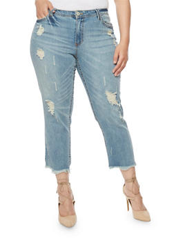 Plus Size Almost Famous Frayed Cropped Jeans - 3870015997416