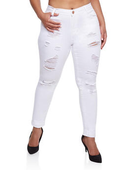 Plus Size Almost Famous Distressed Solid Jeans - WHITE - 3870015998077
