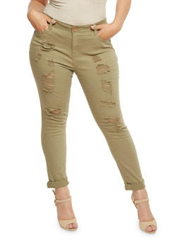 Plus Size Almost Famous Distressed Solid Jeans - 3870015998077