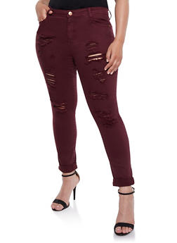 Plus Size Almost Famous Distressed Solid Jeans - BURGUNDY - 3870015998077