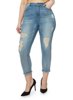 Plus Size Almost Famous High Waisted Cropped Skinny Jeans - 3870015998101