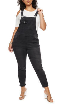 Plus Size Rolled Cuff Denim Overalls - 3870015998681