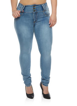 Plus Size 3 Button Push Up Skinny Jeans - 3870041756211