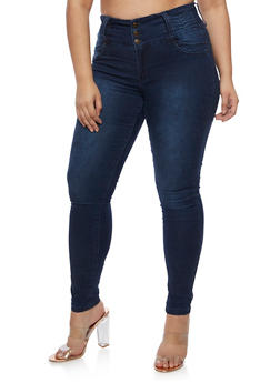 Plus Size 3 Button Push Up Skinny Jeans - DARK WASH - 3870041757974