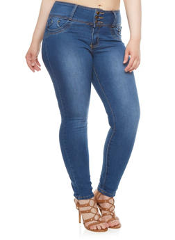 Plus Size Faded Skinny Jeans with Studded Pockets - 3870041759609