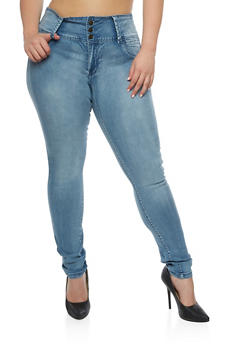 Plus Size 3 Button High Waisted Push Up Jeans - 3870041759623