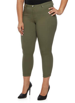 Plus Size Solid Stretch Jeans - OLIVE - 3870056571015