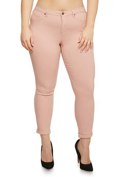 Plus Size Solid Stretch Jeans - 3870056571015