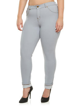 Plus Size Jeggings with Antique Brasstone Hardware - 3870056571810