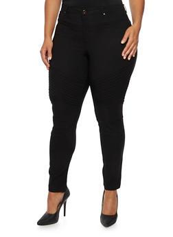Plus Size Stretch Moto Pants - 3870056577019