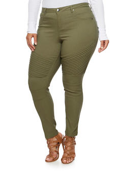 Plus Size Stretch Moto Pants - 3870056577019