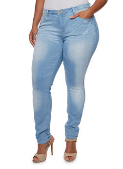 Plus Size Distressed Skinny Jeans - 3870061651863