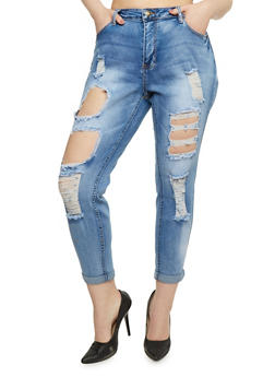Plus Size Destroyed Roll Cuff Skinny Jeans - 3870061652092