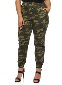Plus Size Joggers in Camo Print - 3870061656179