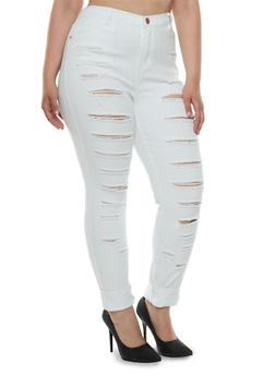 Plus Size Distressed Skinny Jeans - 3870061656565