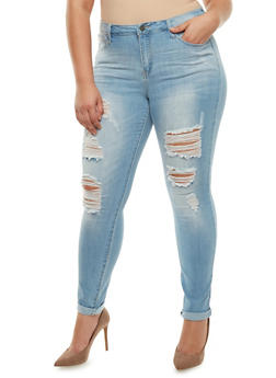 Plus Size Cello Distressed Jeans with Rolled Cuffs - LIGHT WASH - 3870063150135