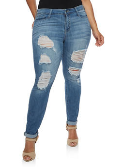 Plus Size Cello Distressed Jeans with Rolled Cuffs - MEDIUM WASH - 3870063150135