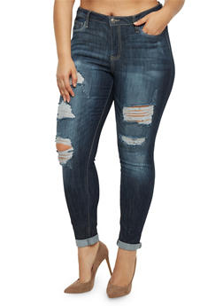 Plus Size Cello Distressed Jeans with Rolled Cuffs - 3870063150135