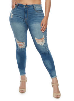 Plus Size Cello Skinny Jeans with Frayed Hem - 3870063151282