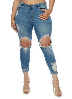 Plus Size Cello Ripped Knee Skinny Jeans - 3870063151329