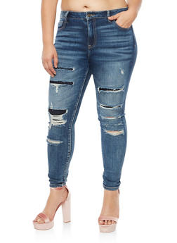 Plus Size Cello Ripped and Repair Skinny Jeans - 3870063151482