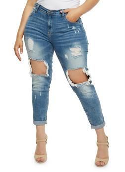 Plus Size Cello Ripped Knee Skinny Jeans - 3870063151535