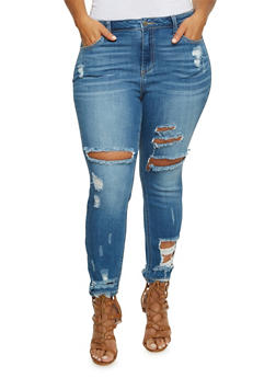 Plus Size Cello Distressed Skinny Jeans - 3870063152244