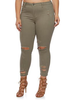 Plus Size Cello Distressed Skinny Jeans - OLIVE - 3870063152442