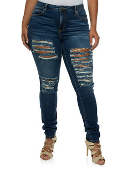 Plus Size VIP Jeans Shredded Skinny Jeans - 3870063152848