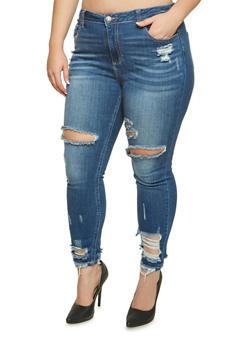 Plus Size Cello Distressed Skinny Jeans - 3870063154422