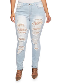 Plus Size Ripped Light-Wash Skinny Jeans with Lace - 3870063154790