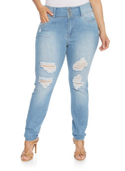 Plus Size Cello High Waisted Ripped Skinny Jeans - 3870063154850