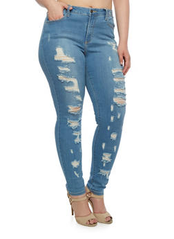Plus Size Cello Destroyed Skinny Jeans - 3870063154923