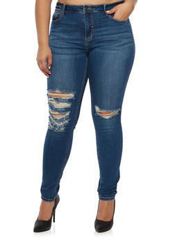 Plus Size Cello Distressed Skinny Jeans - 3870063154950