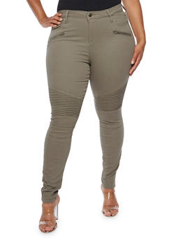 Plus Size Cello Moto Jeans with Zippers - 3870063155200