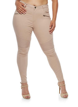 Plus Size Cello Moto Jeans with Zippers - TOWN TAUPE - 3870063155200
