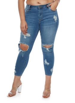 Plus Size Cello Distressed Skinny Jeans - 3870063155608