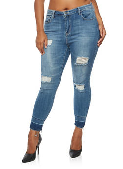 Plus Size Cello Destroyed Raw Hem Skinny Jeans - 3870063155631