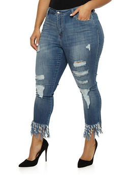 Plus Size Cello Ripped Skinny Jeans with Frayed Hem - 3870063155660