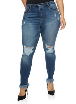 Plus Size Cello Ripped Skinny Jeans with Frayed Hem - 3870063155806