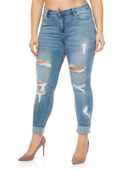 Plus Size Cello Ripped Skinny Jeans - 3870063155952
