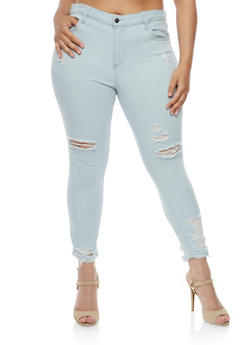 Plus Size Cello Distressed Light Wash Skinny Jeans - 3870063157422