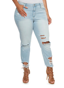 Plus Size Distressed Jeans with Classic Five Pocket Design - 3870063157442