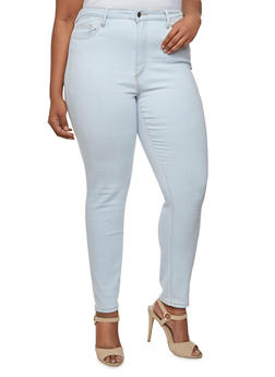 Plus Size Cello Light-Wash Skinny Jeans with Contrast Stitching - 3870063157451