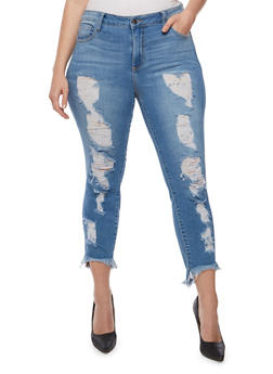 Plus Size Cello Frayed High Low Hem Skinny Jeans - 3870063157522