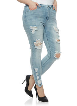 Plus Size Cello Destroyed Skinny Jeans - 3870063157527