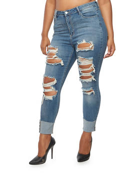 Plus Size Cello Rolled Cuff Skinny Jeans - 3870063157528