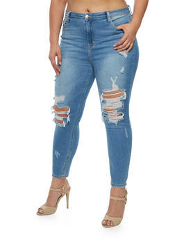 Plus Size Cello Medium Wash Destroyed Jeans - 3870063157532