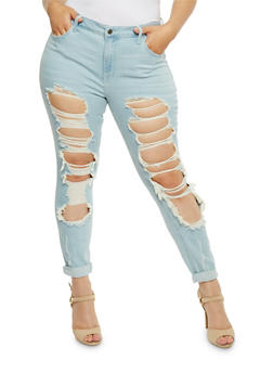 Plus Size Cello Destroyed Light Wash Skinny Jeans - 3870063157536