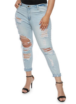 Plus Size Cello Destroyed Roll Cuff Jeans - 3870063157542